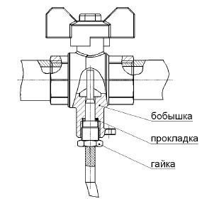 кран шаровой для установки термопреобразователя